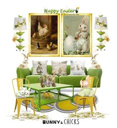 """Bunnies & Chicks for the Easter Home"" by ragnh-mjos ❤ liked on Polyvore featuring interior, interiors, interior design, home, home decor, interior decorating, Moooi, Pier 1 Imports, Stray Dog Designs and Office Star"