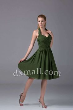 A-line Wedding Guest Dresses Halter Knee Length Chiffon Dark Green 130010100045
