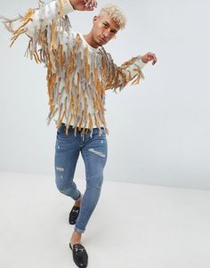 7704c273269 DESIGN sweater with all over tassels