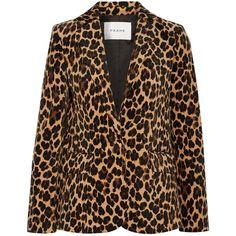 FRAME Leopard-print cotton-blend velvet blazer (34.215 RUB) ❤ liked on Polyvore featuring outerwear, jackets, blazers, leopard print, shoulder pad jacket, shoulder pad blazer, leopard blazer, velvet jacket and velvet slip