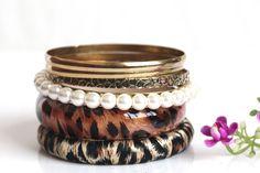 Women European Pearl and Leopard Multilayer Coffee Bracelets