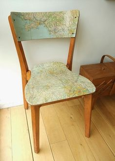 modge podge an old map to a chair--I love map crafts Decoupage Furniture, Furniture Projects, Furniture Makeover, Painted Furniture, Diy Furniture, Map Projects, Chair Makeover, Furniture Design, Chair Redo