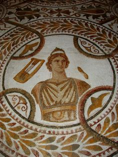 An ancient Roman mosaic in El Jem Museum in Tunisia.