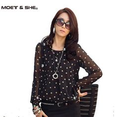 Plus size M-3XL!!  Autumn women's shirts top polka dot chiffon long sleeve loose fat lace dot shirt blouse for women #01555