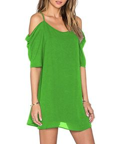 99cd8e986b12f Womens Chiffon Cut Out Cold Shoulder Trumpet Sleeve Spaghetti Strap Dress  Top Grass Green Small * Click image for more details.