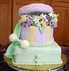 Hatbox Baby Shower Cake