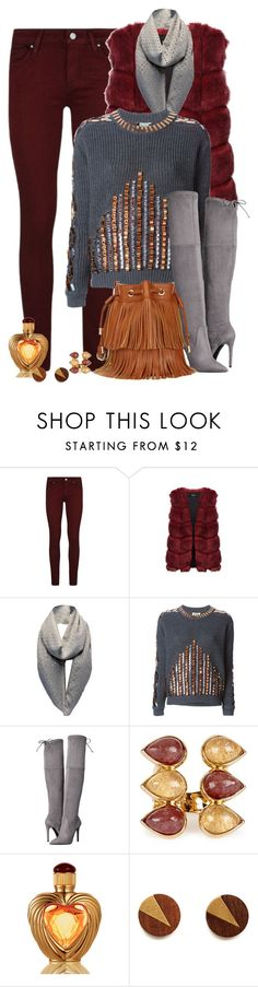 """""""Oxblood and Grey"""" by celeste-menezes ❤ liked on Polyvore featuring Paige Denim, Kenzo, GUESS, Isharya and Victoria's Secret"""