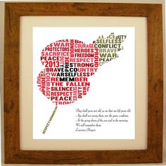 Remembrance Day / Memorial Day Poppy Word Art Gift by ArtyAlphabet, £10.00