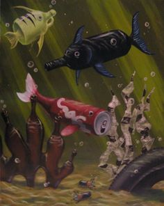 visual metaphor Two seemingly unrelated objects (fish/bottles & cans) sharing a commonality (in this case, the theme of pollution) Visual, Art Projects, Painting, Gcse Art, Plastic Art, Art, Environment, Visual Metaphor, Environmental Art