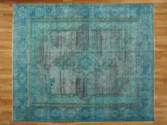 Teal Overdyed Old Persian Tabriz 10'x13' Hand Knotted Oriental Rug Sh15530