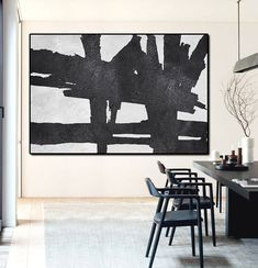 Hand Painted minimal art on canvas, minimalist painting, black and white art from CZ ART DESIGN. Great choice for a neutral home and modern interiors @CeilneZiangArt