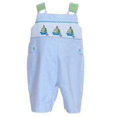 0440bce7d2e2 Mom and Me Smocked Sailboats Boys Overall from Madison-Drake Children's  Boutique