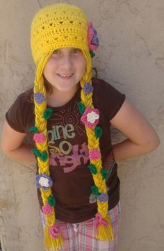 Rapunzel Character Hat Deluxe -Extra Long Braids with Flowers and Leaves
