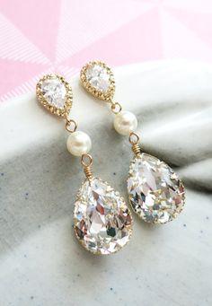 Champagne Gold Swarovski Crystal Earrings, Pearl earrings, gifts for her, sparkly earrings, weddings, bridal, bridesmaid earrings, by GlitzAndLove, www.glitzandlove.com