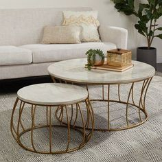 Strick and Bolton 2 PC White Marble Table with Gun Stone Coffee Table, Cool Coffee Tables, Round Coffee Table, Decorating Coffee Tables, Table Decor Living Room, My Living Room, Outlet Store, Round Marble Table, Coffee Table Dimensions