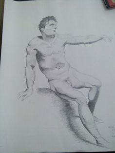 college's assignment; anatomy drawing — Media: pencil on A3 paper