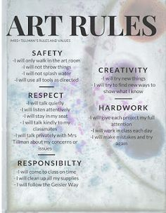Geisler Art Room: Art Values and Rules - middle school - Art Education ideas Art Room Rules, Art Rules, Room Art, Art Class Rules, Middle School Art, Art School, School Tips, Art Classroom Management, Class Management