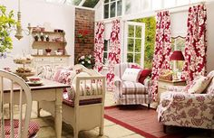 Laura Ashley - Bramley kitchen - love the bench, brave in middle of room