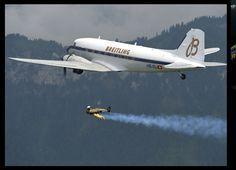 "Breitling DC-3 Passengers Observe Jetman in ""Full Flight"""