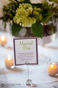 Instead of doing numbers, name your tables places that are special to you. Then guests could take time to read the background of the table name and get to know you better!