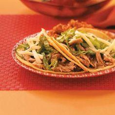 Healthy Eating (crock pot recipe) - Baja Pork Tacos - 2 tacos equals 326 calories, 10 g fat (4 g saturated fat), 76 mg cholesterol, 469 mg sodium, 28 g carbohydrate, 4 g fiber, 30 g protein.