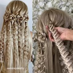 Beautiful Hair Roses Braiding great for Holidays Quick video of my flowers 🌸 🌺🎥🎥🎥🎥🎥 . Hope u guys enjoy this one ❤️ Easy Hairstyles For Long Hair, Braids For Long Hair, Cute Hairstyles, Wedding Hairstyles, Hairstyles Videos, Elvish Hairstyles, Mermaid Hairstyles, Fancy Braids, Cool Braids