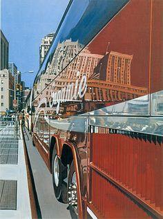 Richard Estes (14 5 1932 en Illinois) pintor EU, fotorrealista. Sus cuadros son retrospectivas de citys alejadas y en paisajes geométricos de ambientes urbanos en donde los automóviles, forma de vestir, carteles representan el ambie de la época.Tiene 1 complej utilización de las superfic con luz refractada, edifi reflejados en estruct cristalinas y lisas como los escaparates, ventanales, cabinas, etc. Tb reproduce reflejos deformados y difuminados en superfi como las olas de agua en movim.