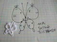 タティングレースのちょうちょ 野乃流編み図 の画像|野乃のきまぐれHANDMADE生活♪