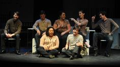 """(Back row, left to right) Taylor Sklenar, Austin Putz, Emily Tigges, Bridget Johnston and Adam Mellerup and (front row, left to right) Maia Craddock and Adam Kroksh perform during a dress rehearsal of  """"Love and Information"""" at Fisher Theater. Photo by Nirmalendu Majumdar/Ames Tribune   http://amestrib.com/entertainment/latest-isu-theatre-production-presents-series-snapshots"""