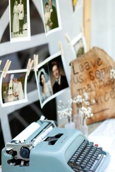Love the idea of having family wedding photos up and the marriage advice typewriter is cute too!