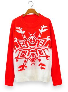 Snowflake & 3D Snowball Color-blocked Sweater