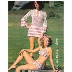 Vintage 1970s Beach Shirt & Bikini Crochet by DigitalPatternShop, $3.75
