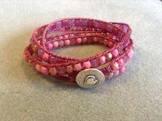 Roze 4 wraparmband