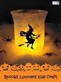 Halloween Craft Idea for Kids: Take any jar, trace a shape on vinyl, apply mod podge and have kids roll it in Sugar.