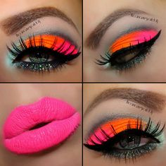 Neon make up! As much as I love bright colors, I wouldn't personally do it on myself but this is beautiful!