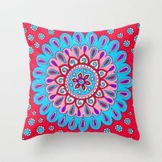 Blue Blossom Throw Pillow by PeriwinklePeacoat