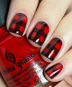 Buffalo Check Nails #red #chinaglaze