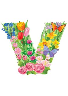 V Birthday Logo, Floral Letters, Letter V, Timeline Covers, Alphabet And Numbers, All Flowers, Initials, Balloons, Fonts