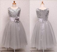 Flower Girl Dress Silver/Grey Sequin Mesh flower Girl Toddler ...