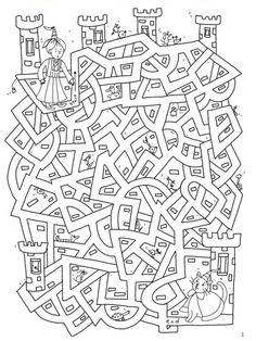 un labyrinthe Welkom bij Dover Publications Colouring Pages, Coloring Books, Chateau Moyen Age, Mazes For Kids, Hidden Pictures, Dover Publications, Activity Sheets, Pre School, Middle Ages