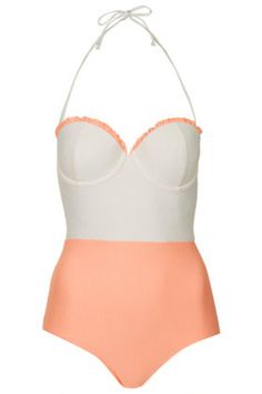 Box Pleated Swimsuit - Peach