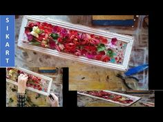 DIY Tablou din cutie de carton si flori uscate/Painted cardboard box and dried flowers Foto Frame, Dried Flowers, Wrapping, Decorative Boxes, Wraps, Wall Decor, Youtube, How To Make, Diy