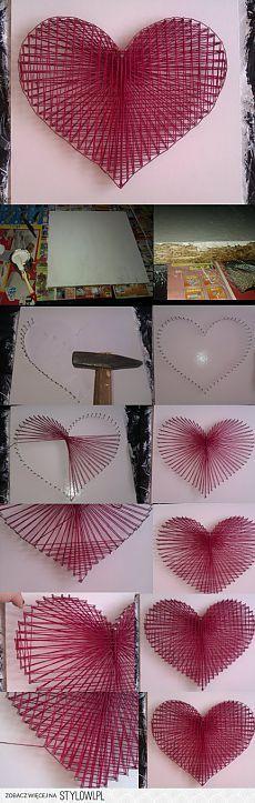 Creative Diy String Art Ideas Projects (Step-By-Step Tutorial) Fun Crafts, Diy And Crafts, Arts And Crafts, Wood Crafts, String Art Diy, String Art Tutorials, Diy Y Manualidades, Heart Diy, Nail Heart