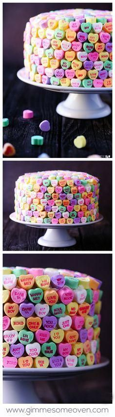 """Conversation heart cake. You and your friends will """"heart"""" this strawberries and cream cake this Valentine's Day!"""