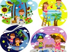 summer clip art of children 3