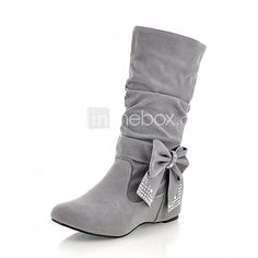 [XmasSale]Women's Shoes Fashion Boots Wedge Heel Mid-Calf Boots with Bowknot More colors available | LightInTheBox