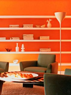 """Blood Orange // """"12 Best Shades of Orange"""" - for the small wall behind the dry bar?"""