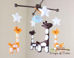 "Baby Mobile - Baby Crib Mobile - Nursery Giraffe Mobile - Safari Mobile ""Baby Giraffes"" (You Can Pick Your Colors). $90.00, via Etsy."