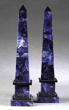 A Pair of Azure Variegated Sodalite and Black Marble Obelisks - Dim: height 16 3/4 in., width 3 3/4 in.