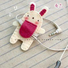 独家新品*超萌动物线圈*卷线器 兔子 不织布材料包-淘宝网    cat headphones thing! cute
